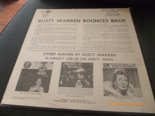 vinilo lp 12 rusty warren -- bounces bac (1131