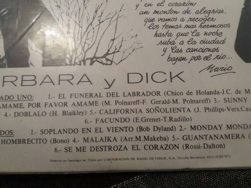 vinilo lp de barbara y dick  amane