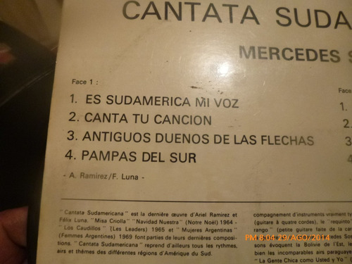 vinilo lp de cantata  sudamericana  --mercedes sosa (u874