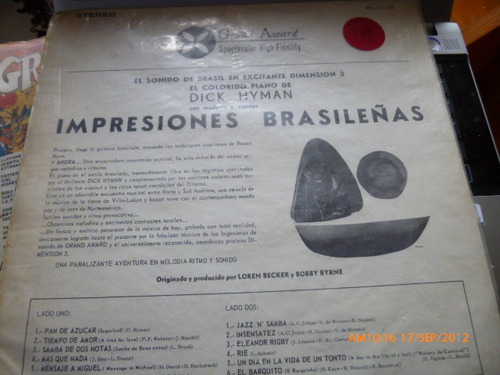 vinilo lp  de dick hyman  -  brasilian   impressiones(644)