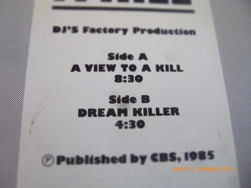 vinilo lp de d.j' s factory a view to a kill -  (1312