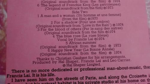 vinilo lp de francis lai  --the man and his music  (1444