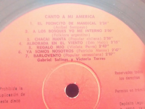vinilo lp de gabriel salinas - canto a mi america (u604