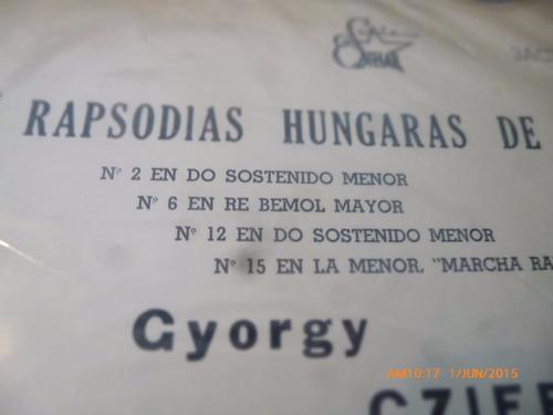 vinilo lp de gyorgy cziffra -liszt rapsodias  (1191