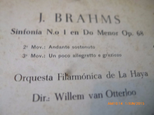 vinilo lp de j . brahms -- willem van otterloo  (u442