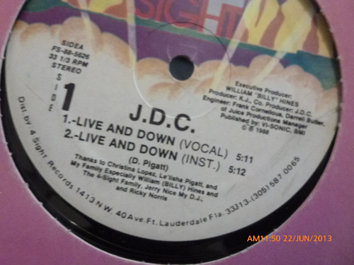 vinilo lp  de j.d.c.  live and down (u422