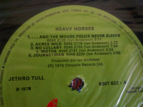 vinilo lp de jethro tull -- heavy horses (u1286