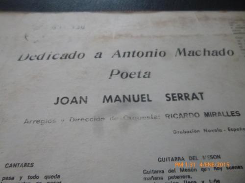 vinilo lp de joan manuel serrat --  dedicado a antonio (974