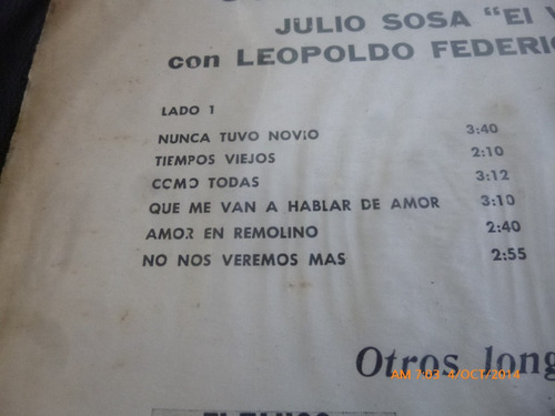 vinilo lp de julio sosa -- soy el tango (u49