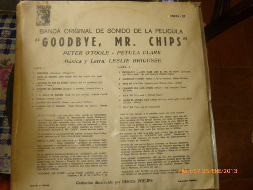 vinilo lp  de la pelicula goodbye mr chips(u653