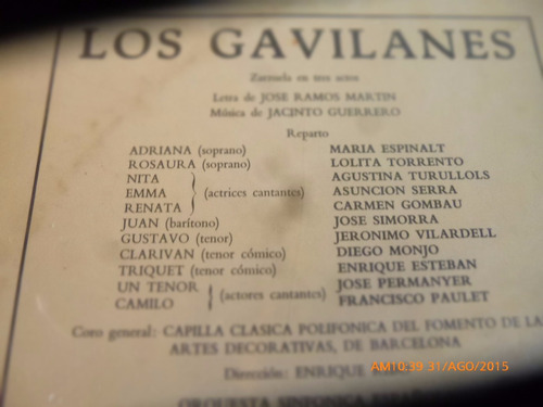 vinilo lp de los gavilanes  --jacinto guerrero  (1441