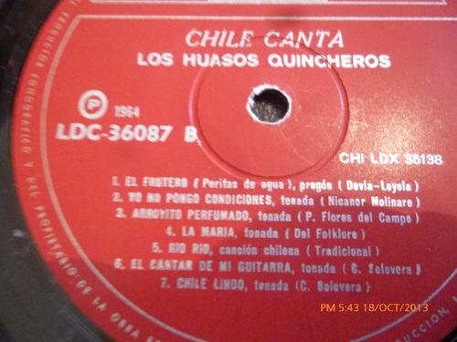 vinilo lp de los huasos quincheros -chile canta (556)