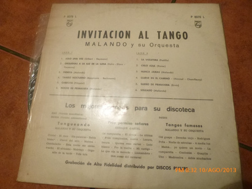 vinilo lp de malando y su orquesta de tango (359)