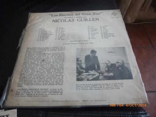 vinilo lp de nicolas guillen  --poemas  por su autor (639)