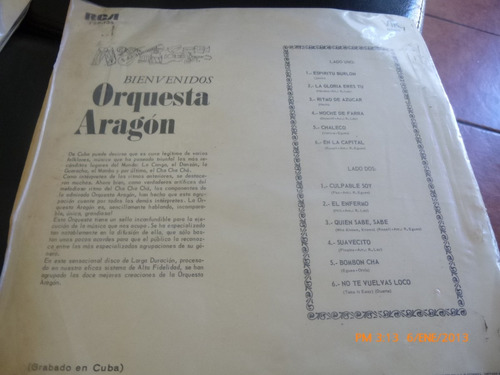 vinilo lp de orquesta aragon   bienvenidos (u511