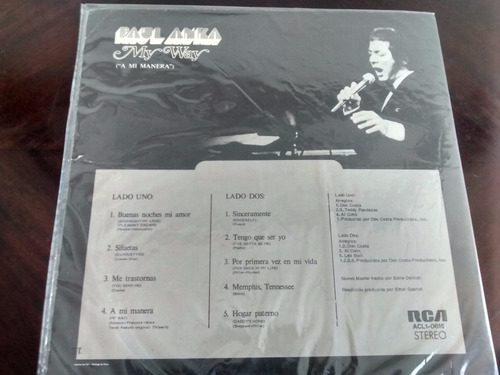 vinilo  lp de paul anka -- my way (1101