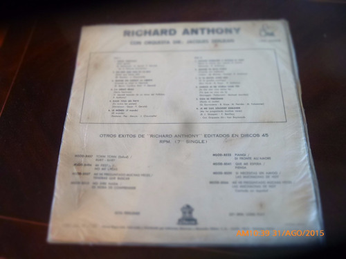 vinilo lp de richard  anthony .-- le monde   (u1318
