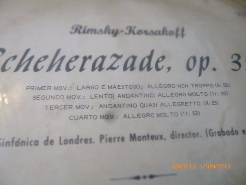 vinilo lp  de  rimsky -korsakoff --scheherazade (1265