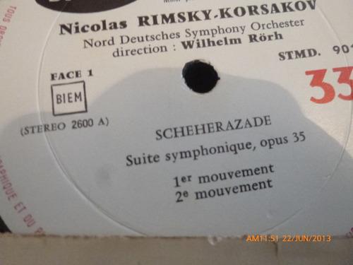 vinilo lp  de  rimsky korsakov scheherazade (828)