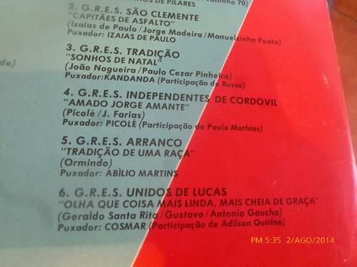vinilo lp de sambas de enredo  carnaval 87 (u484