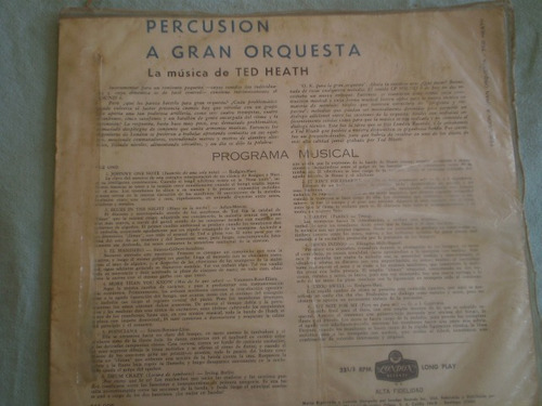 vinilo lp de ted heath percusion a gran orquesta (1080