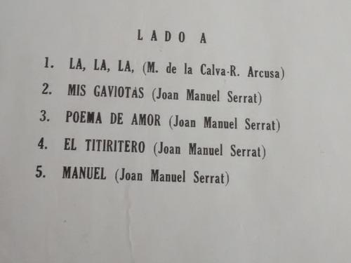 vinilo lp dejoan manuel serrat  poema de amor (1275
