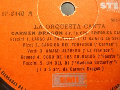 vinilo lp  la orquesta canta  carmen dragon (u131