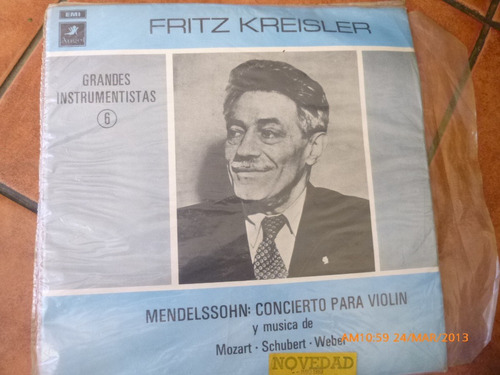 vinilo lp mendelssohn concierto violin fritz kreisler (u678
