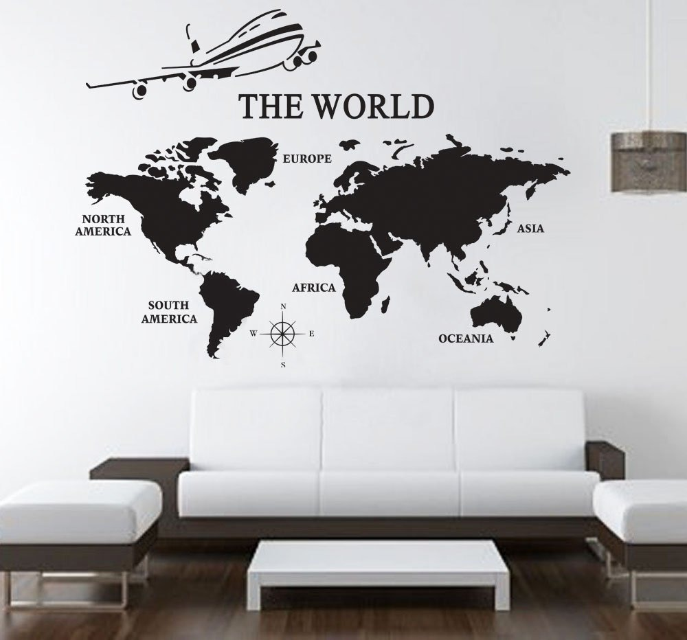 Vinilo Mapa Mapamundi Pared Avion 100x72 Cm 881 96 En Mercado