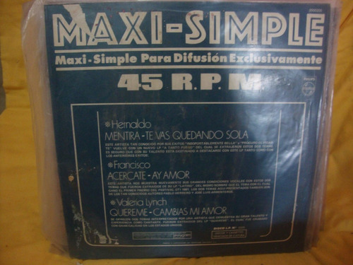 vinilo maxi simple 45 rpm hernaldo valeria lynch francisco