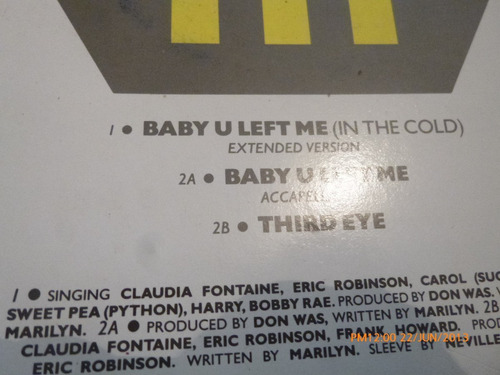 vinilo maxi single  marilyn  baby u left me (u271