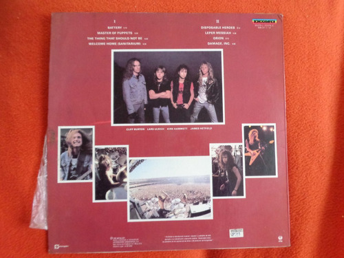 vinilo metallica master of puppets 1990 metal