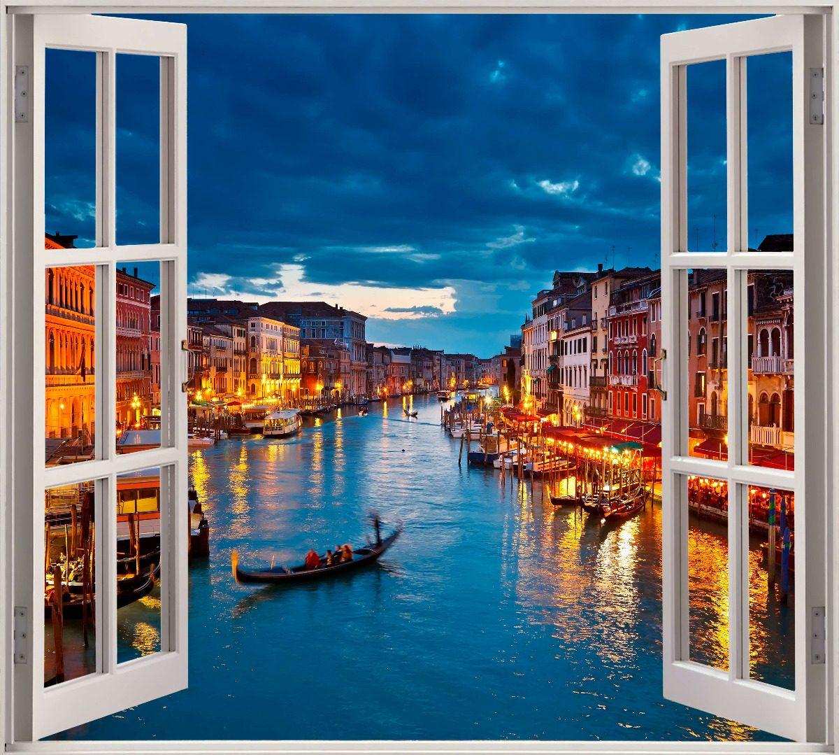 Vinilo Mural Ventana Simulacion Venecia Decoracion 506 00 En
