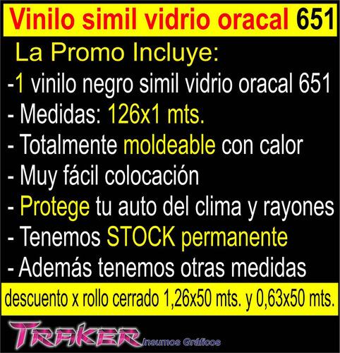 vinilo negro simil vidrio oracal 126x1m. auto/techos ploteos