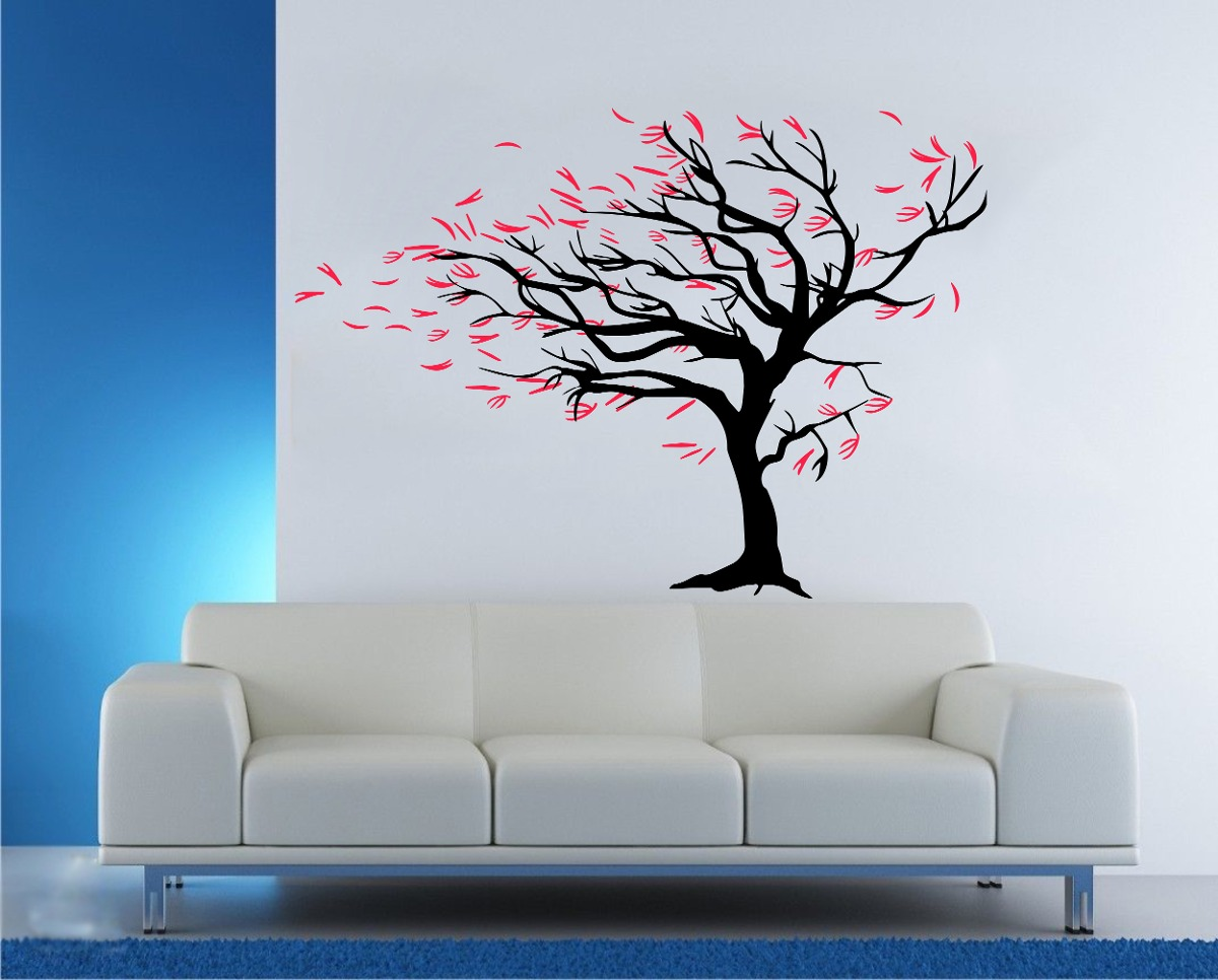 Vinilo Pared Arbol Al Viento Decoracion Wall Stickers 102414 - Decoracin-de-pared