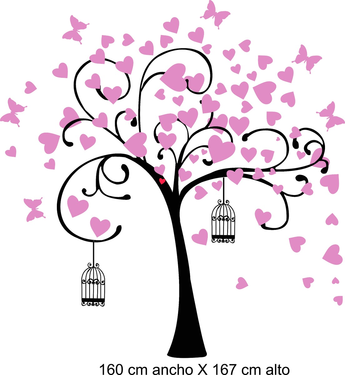 Vinilo Pared Arbol De Corazones Decoracion Wall Stickers 1056 - Corazones-de-decoracion
