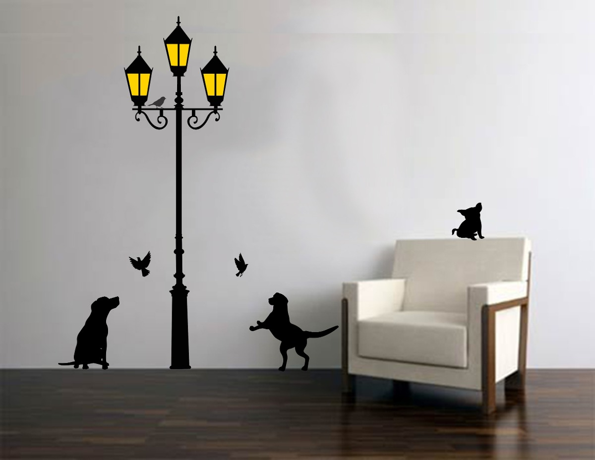 vinilo pared farol con perros decoracin wall stickers