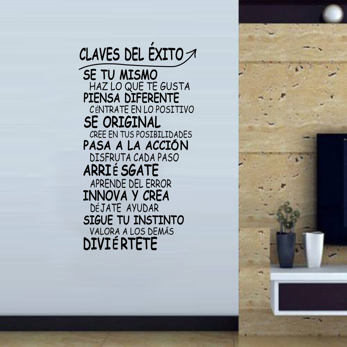 vinilo pared frases claves exito decoracin wall stickers