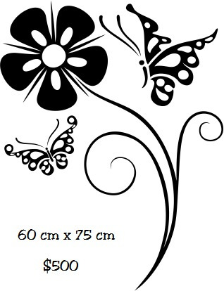 vinilo pegotin de pared flor mariposas