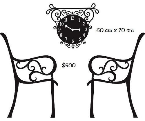 vinilo pegotin de pared sillas y reloj