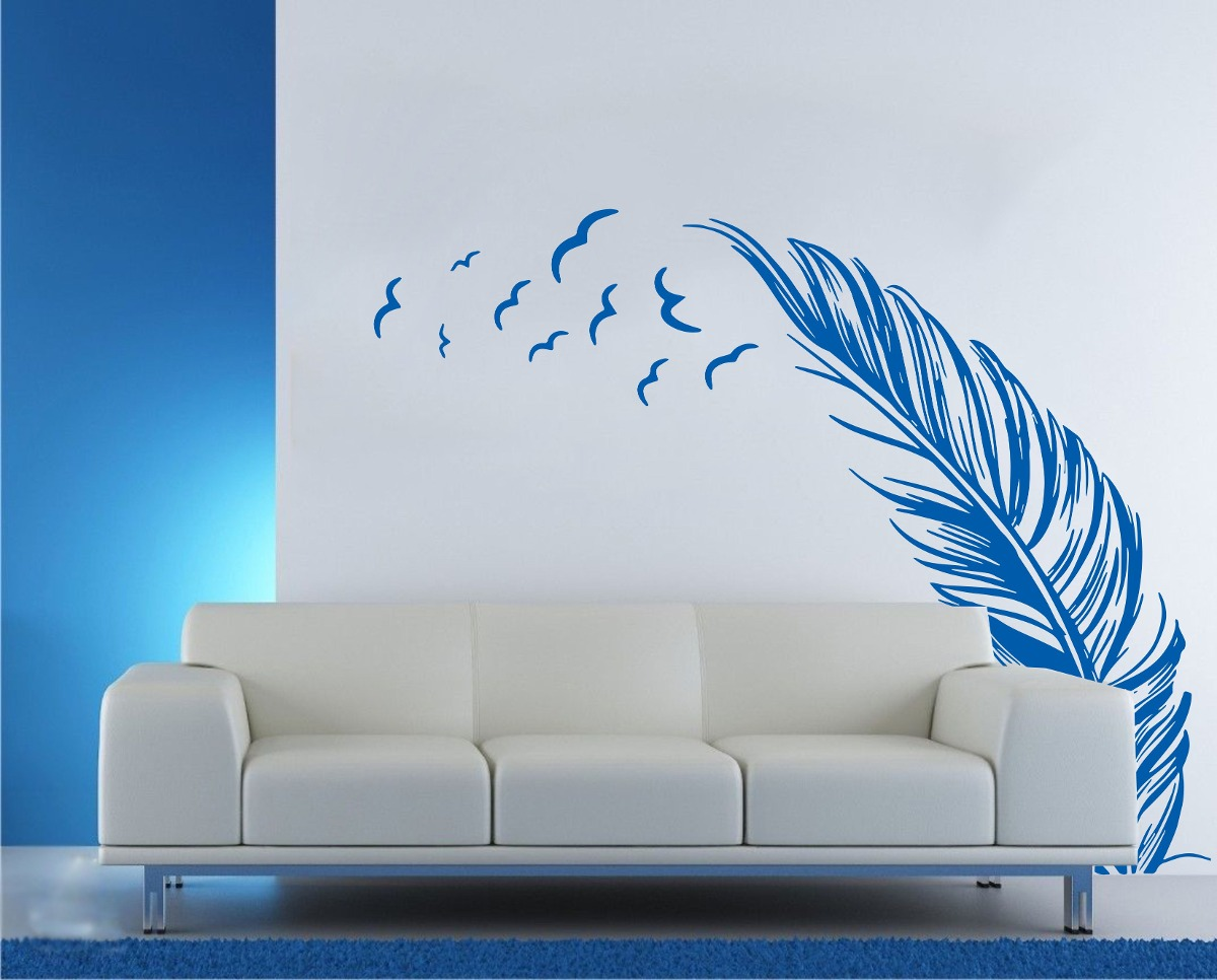 vinilo plumas y pjaros decoracin wall stickers