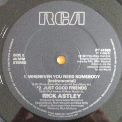 vinilo rick astley whenever you need somebody
