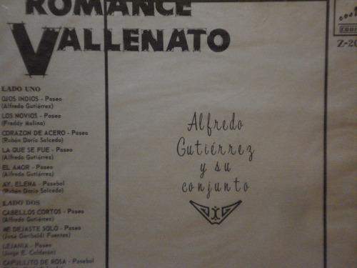 vinilo romance vallenato alfredo gutierrez y su conjunto