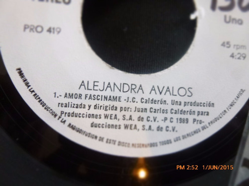vinilo single de alejandra avalos  -amor fasciname(  h92