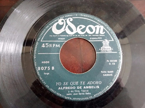 vinilo single de alfredo de angelis  -la ultima copa( c69