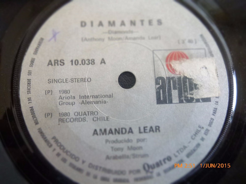 vinilo single de amanda lear -- diamantes ( h88