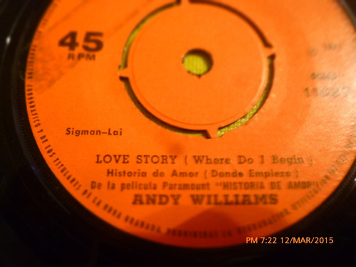 vinilo single de andy williams -- love story( i68