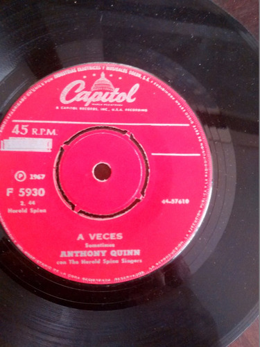 vinilo single de anthony quinn -  a veces  -( t136