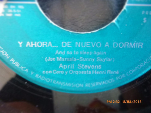 vinilo single de  april stevens - ay acercate ( r109
