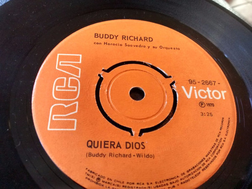 vinilo single de buddy richard - quiera dios( p109